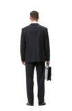 Backview completo do homem de negócios com caso Imagens de Stock Royalty Free