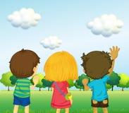 Backview de três crianças ilustração royalty free