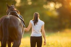 Backview der jungen Frau gehend mit ihrem Pferd im Abendsonnenuntergang Stockfotografie