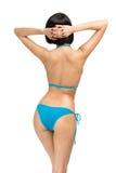 Backview des tragenden Bikinis der Frau stockbild
