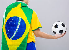 Backview of football player wear with Brazil flag  Stock Photography