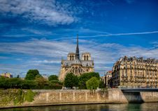 Backview Katedralny Notre Damae rzeczny wonton przy Ile De Los angeles Citï ¿ ½ przy Paryż i Obrazy Royalty Free