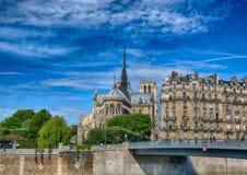 Backview Katedralny Notre Damae rzeczny wonton przy Ile De Los angeles Citï ¿ ½ przy Paryż i Zdjęcia Stock