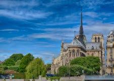 Backview Katedralny Notre Damae rzeczny wonton przy Ile De Los angeles Citï ¿ ½ przy Paryż i Obraz Stock