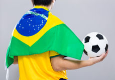 Backview of sportman wear with Brazil flag and hol Stock Photo