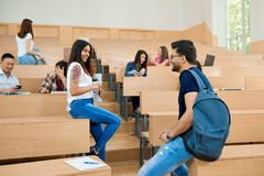 Backview of students communicating in university. royalty free stock image