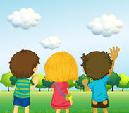 Backview of three kids royalty free illustration