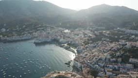Aerial shot of small town Cadaques at sunrise