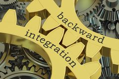Backward integration concept on the gearwheels, 3D rendering Royalty Free Stock Images