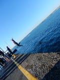 Backward quay jump Royalty Free Stock Photo