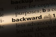 Backward. Word in a dictionary.  concept Stock Photos
