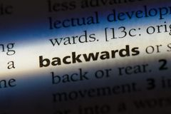 Backwards. Word in a dictionary.  concept royalty free stock photo