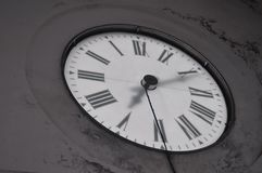 Backwards-Clock Tower from the Inside Stock Photo