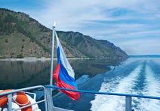 Backwash turystyczna łódź obrazy royalty free