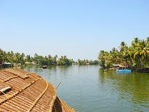 Backwaters in Kerala captured from Houseboat, India Stock Photo