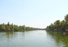 Backwaters in Kerala captured from Houseboat, India Royalty Free Stock Photography