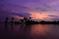 Backwaters of Kerala during dusk Stock Images