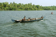 Backwaters- Daily life- Country boat activity Stock Images