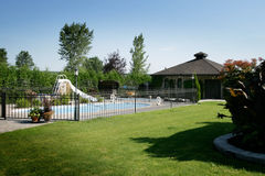 Backyard. Nice swimming pool in a backyard with grass Stock Photography