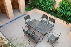 Backyard. With chairs and table for resting Stock Image