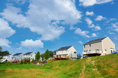 Backyard. Typical residential neighborhood in American Midwest. Backyard view Royalty Free Stock Photography