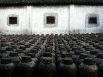 Backyard. Rice wine bottles storage area Royalty Free Stock Images