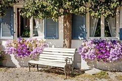 Backyard. Old bench at a bavarian backyard in rosenheim/germany Royalty Free Stock Photos