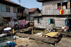 Backyard. In poor district of Bangkok, Thailand Stock Images
