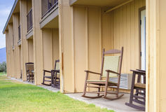Backyard of American Motel Environment with Row of Chairs in Lin Royalty Free Stock Photos