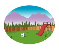 Backyard background. Cartoon illustration of a backyard with slide, fence and soccer ball Royalty Free Stock Images