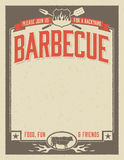 Backyard Barbecue Invitation. Template with vintage look. Easy to edit  file Stock Image