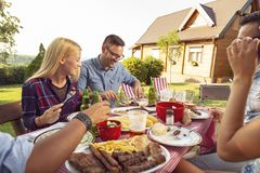 Backyard barbecue party royalty free stock photos