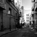 Black and white photo of a dead end street in San Francisco with a garbage Royalty Free Stock Image