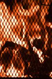Backyard Campfire. Flames viewed through the grate of an outdoor fireplace.  Focus is on the flames Royalty Free Stock Photos