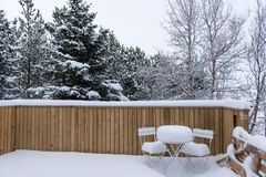 Free Backyard Covered In White Winter Snow. Royalty Free Stock Photography - 114215277