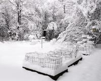 Backyard covered with snow Royalty Free Stock Image