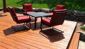 Backyard Deck. With chairs and table Stock Photography