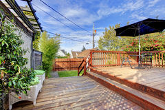 Backyard deck with patio area Stock Photography