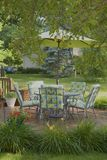 Backyard Deck in Spring Framed by Tree Royalty Free Stock Photography