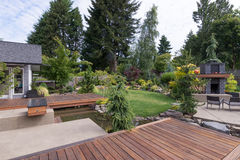 Backyard Deck and Water Stock Photos