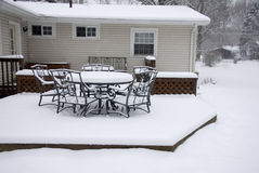 Backyard Deck in Winter Royalty Free Stock Photography