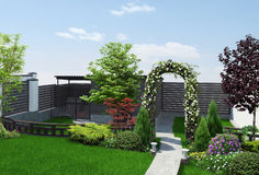 Backyard defining areas, 3d render. Flowered arch bring romantic and soft atmosphere into garden and defining different areas of a garden and creates a sense of Stock Images