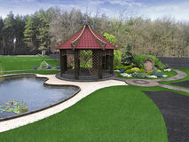 Backyard design ideas, 3d render Royalty Free Stock Photography