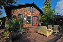Backyard Display. Patio backyard display for a beautiful home Royalty Free Stock Image