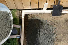 Backyard, DIY concrete project with wet cement Royalty Free Stock Photos