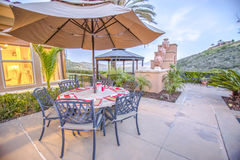 Backyard eating area in home. Outdoors in Southern California homes ready for real estate listings Stock Photo