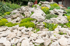 Backyard with fantastic landscaping, patio, fence and raised bed, drought resistant plants. A flower bed of stones for succulents Royalty Free Stock Photo