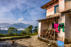 Backyard of a farmhouse in the Himalayas mountain Royalty Free Stock Photography
