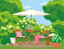Backyard with a flowering garden, wooden furniture, rug, pillow, coffee table. Vector illustration is drawn by shape royalty free illustration