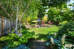 Backyard garden with beautiful landscape. Northwest, USA Stock Photo